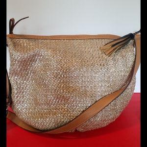 Jessica Simpson gold metallic bucket bag